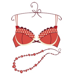 Sexy vintage red bra vector image