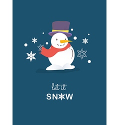 Snowman christmas card vector image vector image