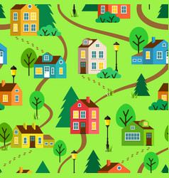 summer town or village seamless pattern vector image vector image
