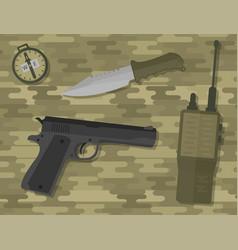 weapons handgun pistol submachine hand gun vector image