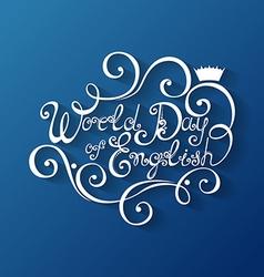 World day of english inscription vector