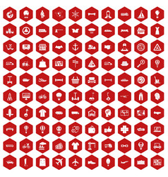 100 logistics icons hexagon red vector image vector image
