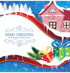House and Christmas gifts vector image