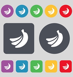 Banana icon sign a set of 12 colored buttons flat vector