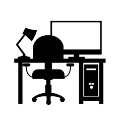 Monochrome silhouette with home office vector