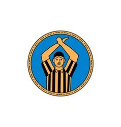 American football umpire hand signal circle mono vector