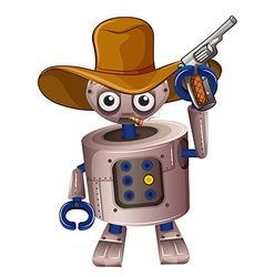 A toy robot holding a gun vector image