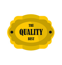 golden quality label icon flat style vector image