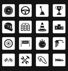 Racing speed icons set squares vector