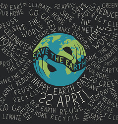 Earth day poster hands shaped looks like the vector