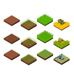 Harvest work elements set vector