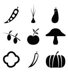 Fruit and vegetables icon set vector