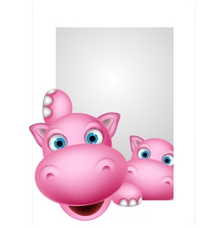 Cute couple hippo cartoon vector