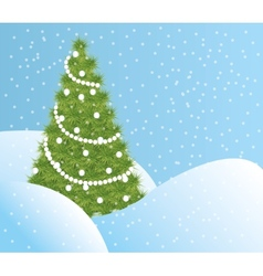 Green Christmas tree in the snow vector image