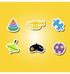 Set of color icons with toys vector