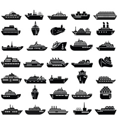 30 ship and boat icon set vector