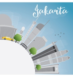 Jakarta skyline with grey landmarks vector