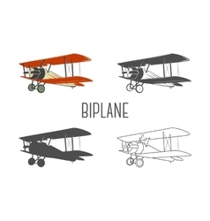 Set of vintage aircraft design elements retro vector