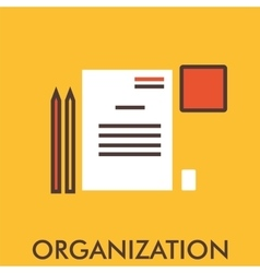 Organization paper penline icon with flat vector