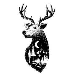 Black deer head vector