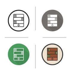Bookcase flat design linear and color icons set vector
