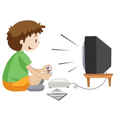 Boy playing vdo game alone vector