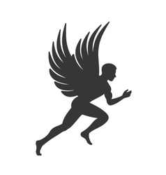 Angel silhouette man with wings sign vector