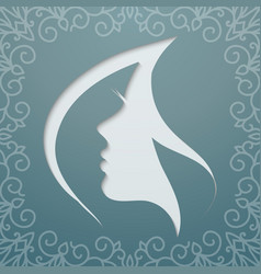 Female profile fluttering hair vector
