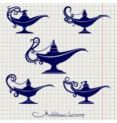 Ball pen drawing aladdin lamp vector