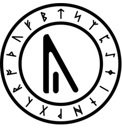 black and white version of yr rune vector image vector image