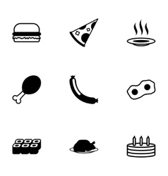 black food icons set vector image vector image