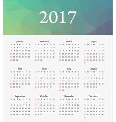 Calendar 2017 Week starts from Sunday vector image