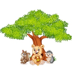 Cartoon funny animal on the tree vector image vector image