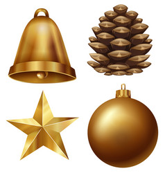 Chirstmas ornament set with pinecone and ball vector