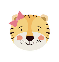 Colorful caricature cute face of female tigress vector