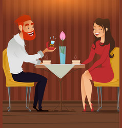 couple in love romantic evening in restaurant or vector image