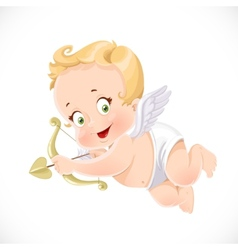 Cute little cupid aiming an arrow isolated on a vector