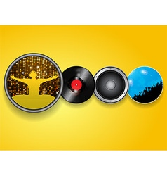 DJ vinyl speaker and crowd background vector image vector image
