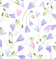 elegance seamless texture with crocuses vector image