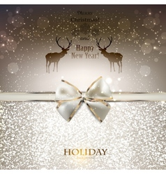 Elegant greeting card with white bow and copy vector