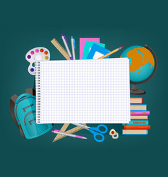 Empty notebook page and student items banner vector