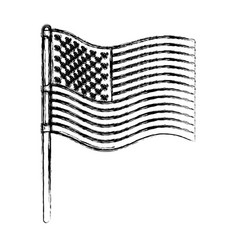 flag united states of america in pole waving in vector image
