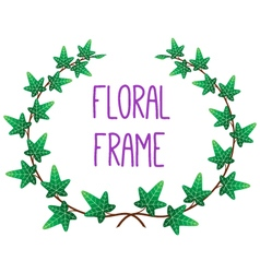 Floral round frame vector