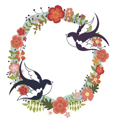 Floral wreath and swallows vector image vector image