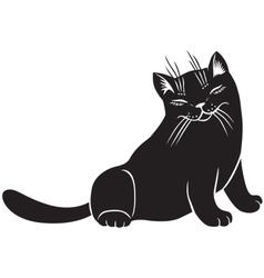 Fluffy cat blinks vector image vector image
