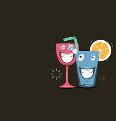 funny cartoon smiling glass characters vector image