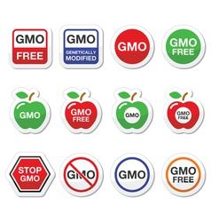 GMO food no GMO or GMO free icons set vector image vector image