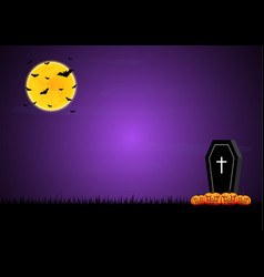 halloween coffin graveyard pumpkin moon bat vector image vector image