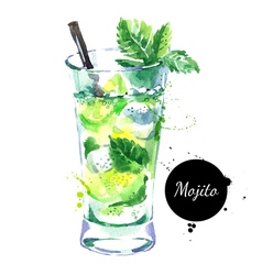 Hand drawn sketch watercolor cocktail mojito vector