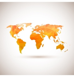 Low poly orange world map vector